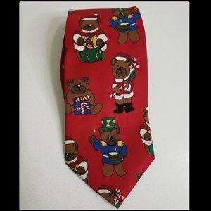 Save The Children Men Teddy Bear Silk Necktie Red